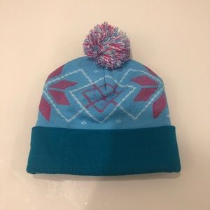 Blue Pink Tagless Pompom thick winter hat